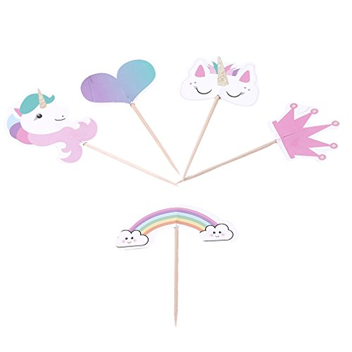 Price comparison product image Dolland Unicorn Cupcake Toppers Rainbow Heart Crown Cake Toppers Themed Party Decorative Party Supplies On A Stick -24 pack