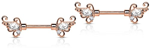 14g 1/2 Inch (12mm) Rose Gold Plated Floral CZ Crystal Nipple Ring Barbell Set
