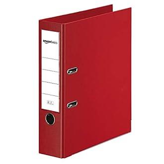 AmazonBasics - Archivador de palanca, cubierta de PP, lomo con bolsillo, Certificación FSC, lomo de 80 mm de ancho, paquete de 10, rojo