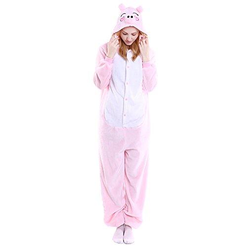 Pig For Teenager Costumes (Fleeced Hoodie Costume Halloween Onesie Pajamas for Unisex Adults Teens Pink Pig)