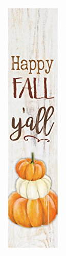 P Graham Dunn Happy Fall Y'all Pumpkins Rustic 1.5 x 7.5 Inch Wood Vertical Tabletop Block Sign ()