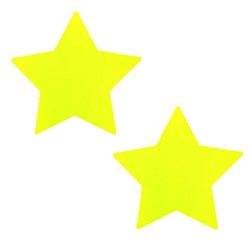 Starburst 12 Light (Neva Nude Blacklight Neon Yellow Starburst Star Nipztix Pasties Nipple Covers)