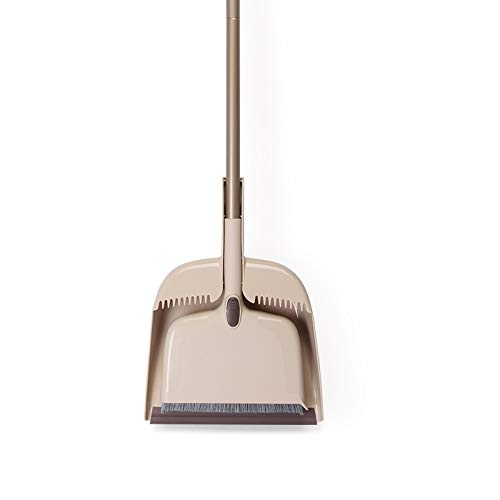 Multifunctional Broom and Dustpan Set with Extendable Handle for Floor and Ceiling. Improved Easy Cleaning. Scraper & Floor Squeegee.