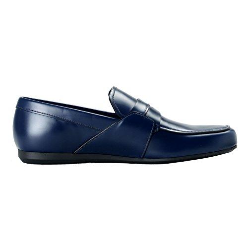 Prada Heren Blauwe Lederen Instappers Glippen Schoenen Ons 10.5 Het 9.5 Eu 43.5