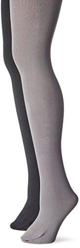 Muk Luks Women's Fleece Lined 2-Pair Pack Tights, Black/Dark Grey, Large