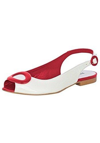Patrizia Dini Bailarina slingballerina de piel de blanco/rojo