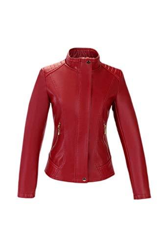 Fit Jacket Forti Invernali Fashion Slim Pelle Transizione Eleganti Caldo Abbigliamento Autunno Con Taglie Moto Coreana Giubbotto Giacca Donna Collo Rosso Biker Cerniera Lunghe Maniche Wvq8wfFY