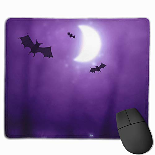 (Non-Slip Rubber Base Mousepad for Laptop Computer PC Personality Desings Gaming Mouse Pad Mat (Happy Halloween Bats Pattern, 11.81 X 9.84)