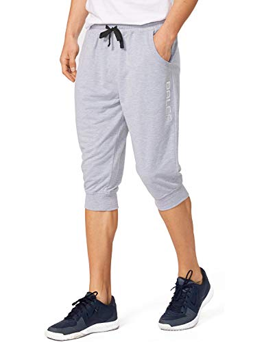 Baleaf Men's 3/4 Workout Joggers Capri Pants Running Training Side Pockets Light Gray Size L