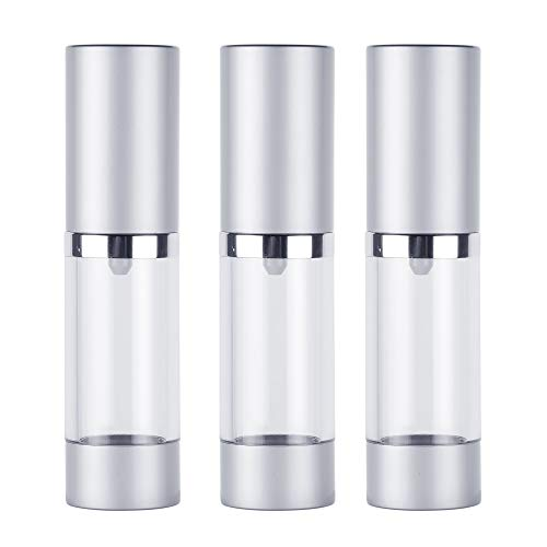Bluecell 3pcs Plastic Airless Pump Bottles Refillable Travel Containers Dispenser for Cosmetic Toiletries - 15 ml / 0.5 ()