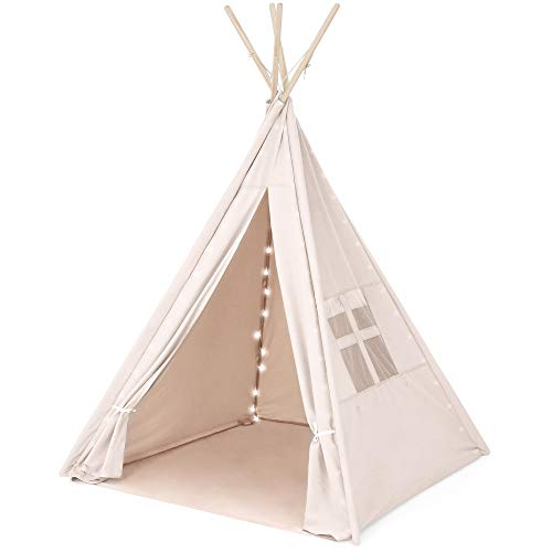 Best Choice Products 6ft Kids Cotton Canvas Teepee Playhouse with Lights, Carrying Bag, White