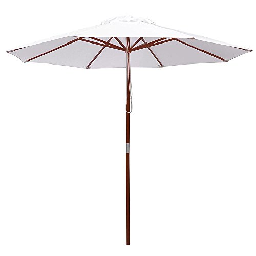 - Yescom 9ft Wood Outdoor Patio Pure White Umbrella Market Garden Yard Beach Deck Cafe Wedding Party Sunshade