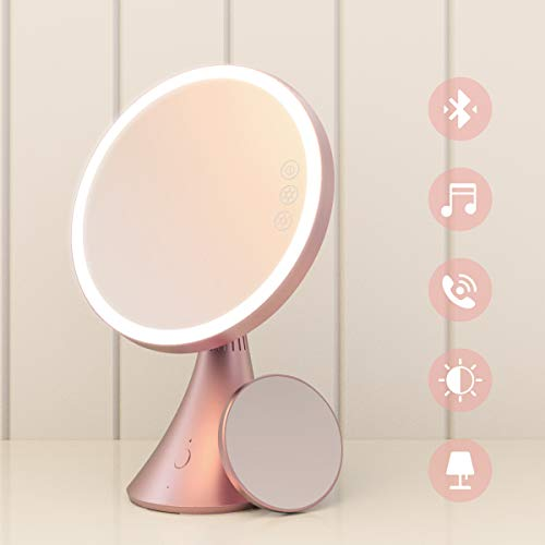 Babyltrl Lighted Vanity Mirror, 9 Inch Led Makeup Mirror with 5X Magnification, Adjustable Color Temperature & Brightness, Bluetooth Speakerphone All-In-One Tabletop Makeup Cosmetic Mirrors