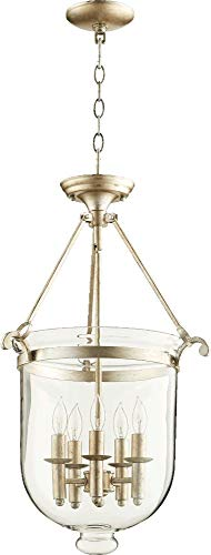 Quorum Lighting 6702-5-60, Entry Large Bowl Pendant, 5LT, 100 Total Watts, Aged Silver Leaf