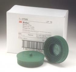3M 7526 3'' Scotch-Brite Roloc Bristle Discs, 50 Grit, Coarse, Green
