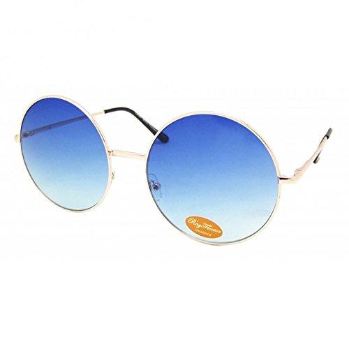 Chic-Net Sonnenbrille rund Glamour golden XL Oversize John Lennon getönt 400UV Vintage blau oO9qm