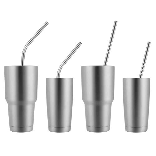Epartswide Reusable Straws 8 Pcs Full Variety Stainless Steel Straws and 4 Pcs Cleaning Brushes for 30oz 20oz Yeti Tumbler RTIC Tervis Ozark Trail Starbucks Mason Jar FDA Approved and BPA Free by Epartswide (Image #3)