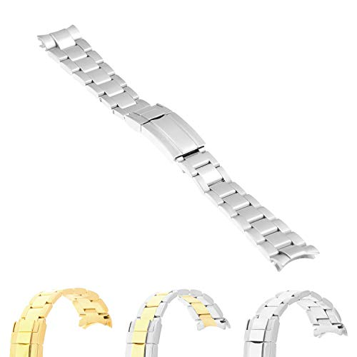 (StrapsCo Stainless Steel Oyster Watch Strap Band Bracelet with Curved Ends for Rolex - 20mm)