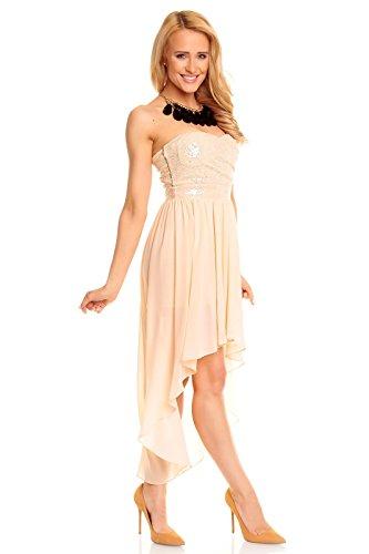 Chiffonkleid Cocktailkleid Beige M 36 Chiffon Pailletten Ballkleid Festkleid Bandeau Kleid Abendkleid 0qFTXOwZUx