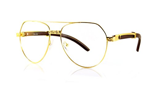 FBL '80 Vintage Aviator Nose Bridge Temple Detail Metal & Wood Clear Eyeglasses A109 ((Clear) - Wood Eyeglasses Temple
