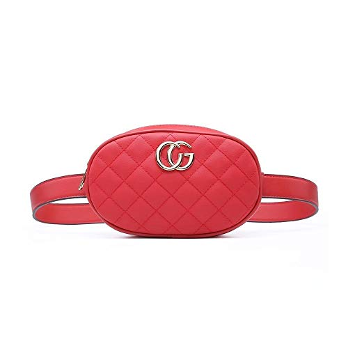 Designer Inspired Faux Leather Stitched Quilted Pattern bumbag Red