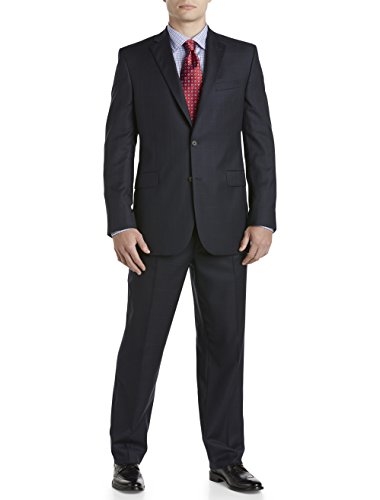 Jack Victor Massive & Tall Textured Windowpane Wool Nested Go well with (56 Lengthy, Navy)