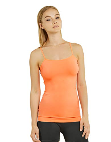 Brad's Girl Teejoy Mopas Women's Comfy Seamless Camisole Tank Top with Adjustable Strap - Peach (Peach)