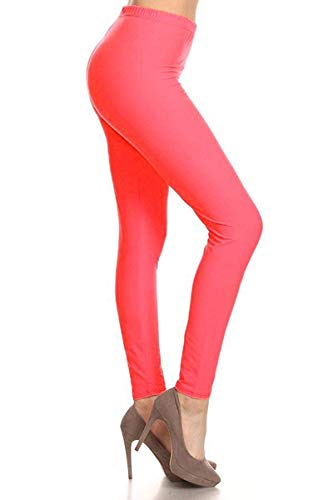 SXL128-NeonPink Basic Solid Leggings, Plus Size -