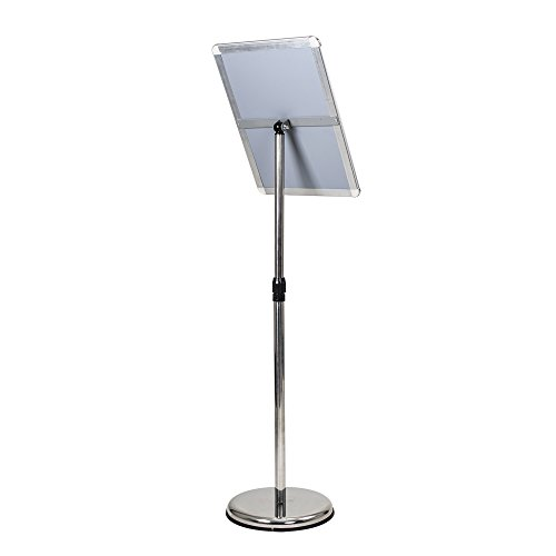 ShowMaven A3 Poster Stand, Vertical/Horizontal Pedestal Sign Holder with Height Adjustable with Steel Base, Aluminium Frame, Floor Stand Display for Exhibition Library Restaurant (Silver) by ShowMaven (Image #1)