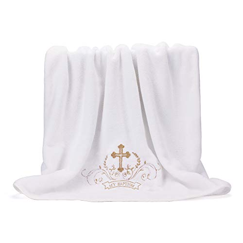 """""""My Baptism"""" Baby Christening Dedication White Blanket with Embroidered Cross Premium Soft Warm Cozy Coral Fleece Toddler, Infant or Newborn Receiving Blanket, 59"""" L x 30"""" W"""