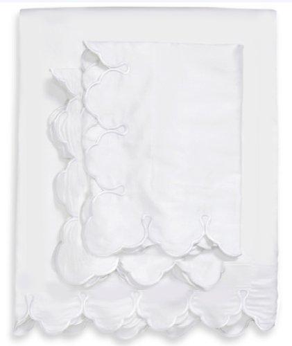 Belle Epoque Scalloped Embroidered Boudoir Pillow Sham, White ()