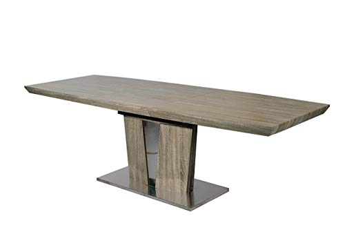 Neos Modern Furniture T1404SN-N T1404SN Modern Extendable Wooden Dining Table with Stainless Steel Base, 87