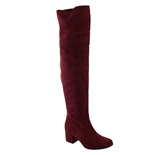 Nature Breeze FF00 Women Over The Knee Mid High Block Heel Boots Full Size Small, Color:Wine, Size:6