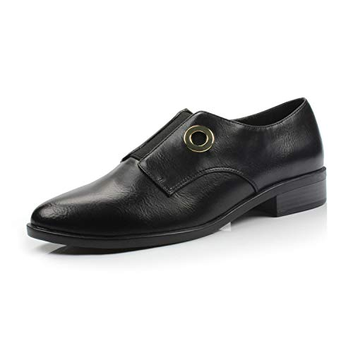 Oxford Buckle - DUNION Women?s Bonus Classic Comfortable Brogue Low Heels Casual Oxford Daily Shoe,Bonus Black,8.5 M US