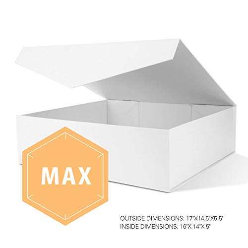 PACKHOME Extra Large Gift Box with Lids Rectangular 17x14.5x5.5 Inches, Gift Box for Clothes and Large Gifts (Matte White with Embossing, 1 Box)