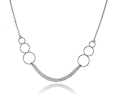 Sterling Silver Two Tone and Rose Gold-Plated Necklace 18 Inch from uGems