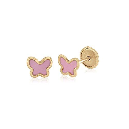 Yellow Gold Enamel Butterfly Earrings - MASSETE 14k Yellow Gold Screwback Earrings Butterfly Pink for Baby and Children