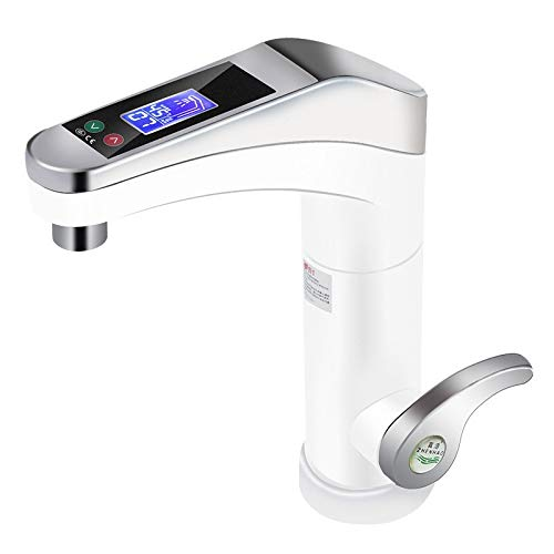 500-3500W Large Touch-screen Electric Water Heater Rotatable Water Faucet Instant Faucet Hot And Cold For Bathroom Kitchen (Color : White)