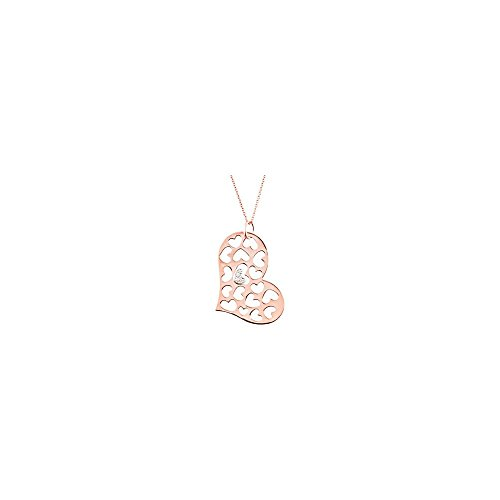 STU001- 14K Rose & White .08 CTW Diamond Heart Necklace - 0.08 Ct Tw Heart