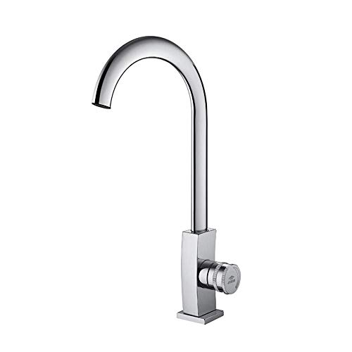 Kitchen Hot Cold Sink Tap Faucet Stainless Steel Mixer Taps Degree Swivel All Copper Faucet Ceramic Valve Core Basin Copper Single Handle High Arc Bathroom Lead-Free Hydrant Lavatory Brushed