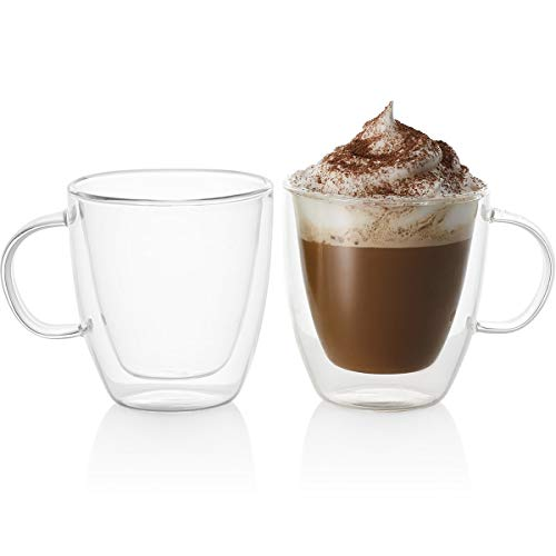 Espresso Cups Dishwasher Safe - GoodGlassware Double Wall Espresso Mugs (Set of 2) 5.4 oz - Insulated Thermo Cups with Handle - Lead-Free, Dishwasher Safe Glasses