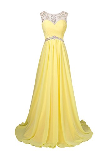 Edelsteinbesetztes Abend Chiffon Line missydress Damen Gelb A Ball 'bridesmaid dress49 qw7wOn6a