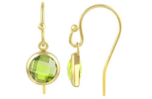 14K Gold-Filled Ball End Cubic Zirconia Bezel Drop Earrings 6 mm Lime Green