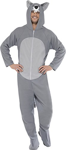 Wolf Halloween Costume Uk (Smiffy's Adult Unisex Wolf Costume, All In One Jumpsuit, Size: L, Colour: Grey,)