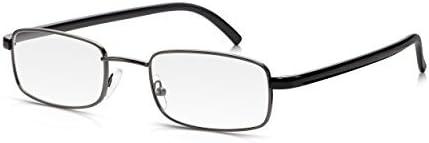 Read Optics: Gafas de Lectura/Ver de Cerca (Hombre/Mujer) con Lentes Rectangulares Graduadas +1,00 Dioptría – Marco Completo Gris Oscuro + Bordes Patillas Negro Brillante
