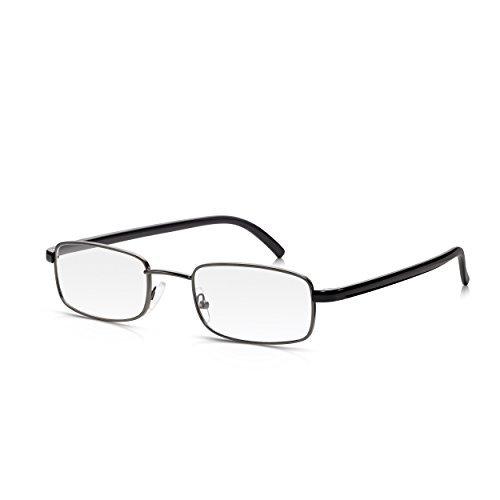 TALLA +1.0. Read Optics: Gafas de Lectura/Ver de Cerca (Hombre/Mujer) con Lentes Rectangulares Graduadas +1,00 Dioptría – Marco Completo Gris Oscuro + Bordes Patillas Negro Brillante