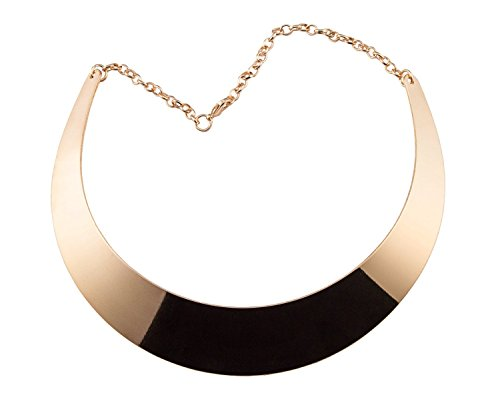 Gold Chunky Alloy Metal Choker Gold Plated Statement Collar Necklace (Earth Goddess Costume)