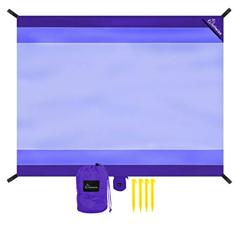 WolfWise Sand Escape Beach Blanket, Water Resistant Beach Mat Extra Large Compact Picnic Pocket Blanket, Lightweight with 4 Stakes, Purple