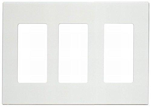 Leviton 80311-SW 3-Gang Decora Plus Wallplate Screwless Snap