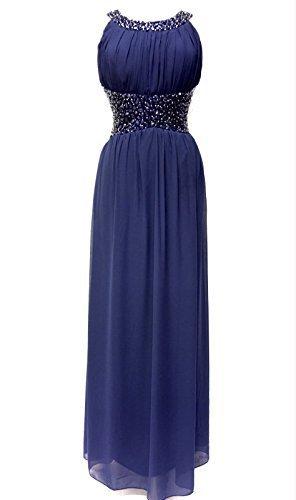 Womens Embellished Azul Maxi vestido de noche ( Azul